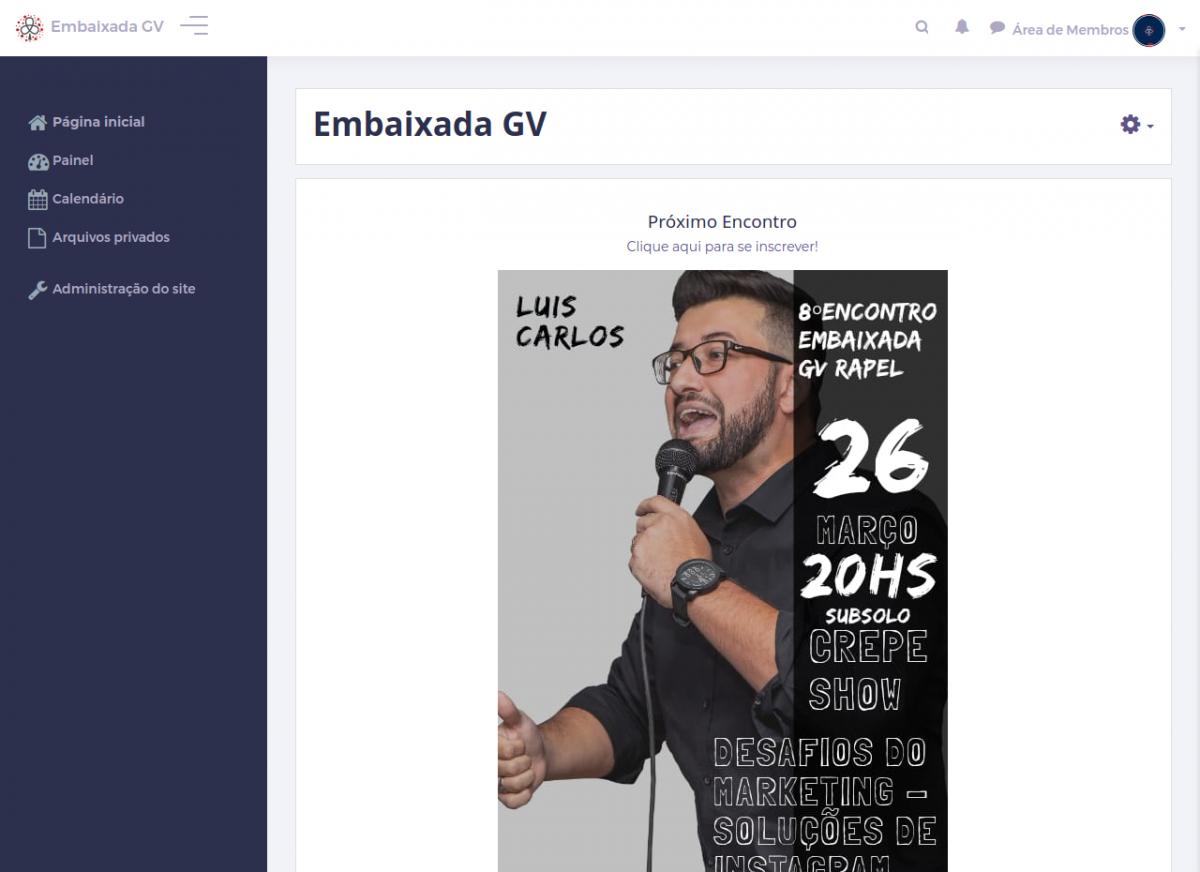 Página Inicial da Área de Membros da Embaixada GV